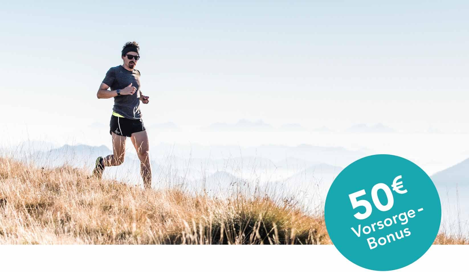 men running in the hills